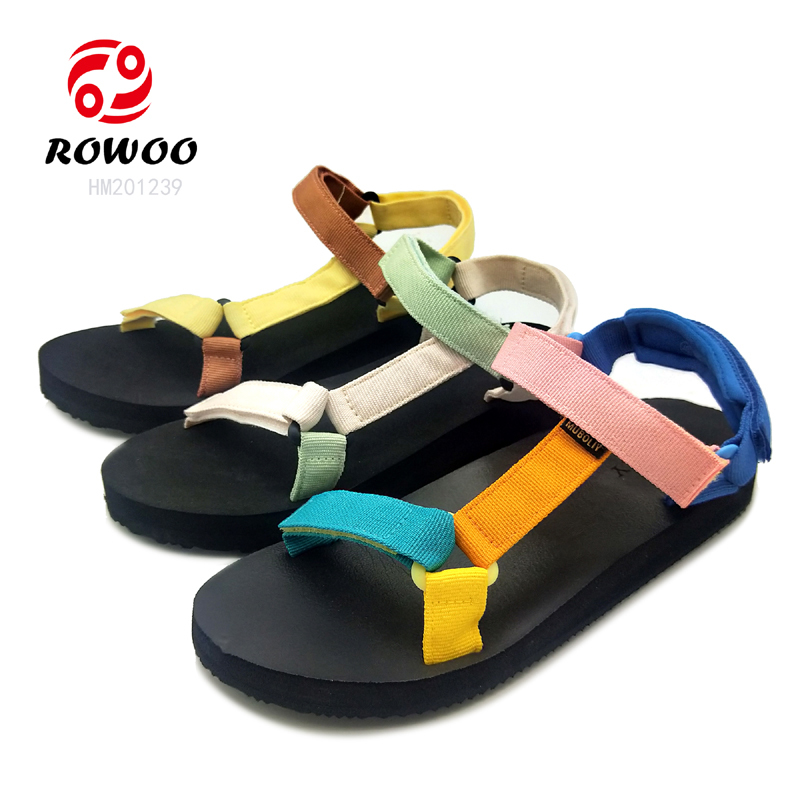 Hot Sale Ladies High Heel Sandals Canvas Women Summer Thick Bottom Adjustable Sandals
